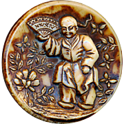 Button---Very Large Late 19th C. Asian Figure in Sepia on Caramel Glass