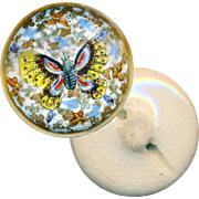 Button--Very Fine Late 19th C. Satsuma--Thousand Butterflies--Medium