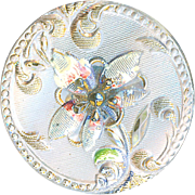 Button--Medium Late 19th C. Crystal Lacy Glass Floral in Original Paint