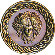 Button---Large Late 19th C. Magenta Tinted Brass Head of Medea in Chain Border