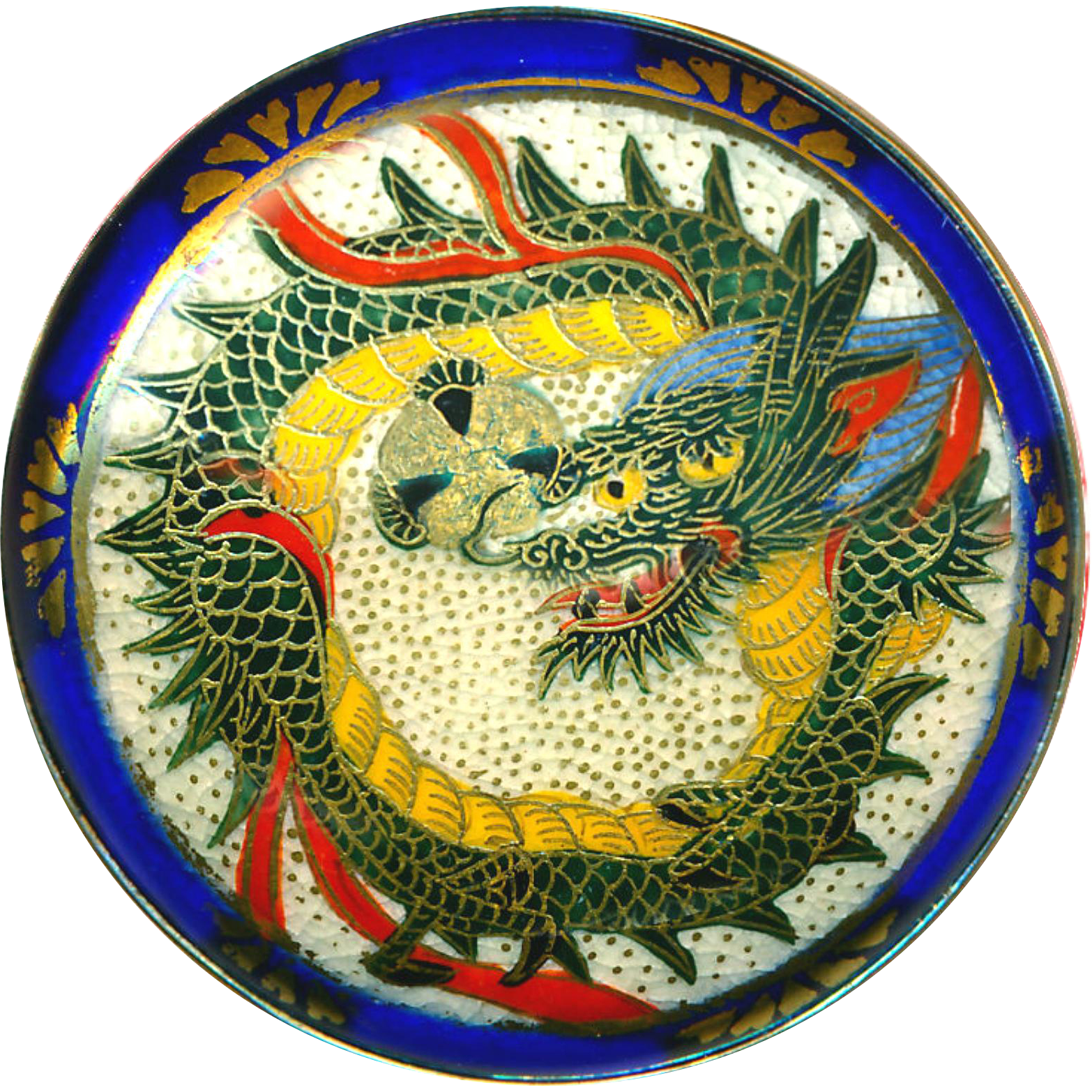 Button--Lovely Very Large Late 19th C. Satsuma Blue-haired Dragon in Silver Mounting