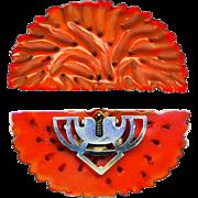 Dress Clip--Very Large Realistic Red Orange Bakelite Imitative of the Best Neopolitan Coral