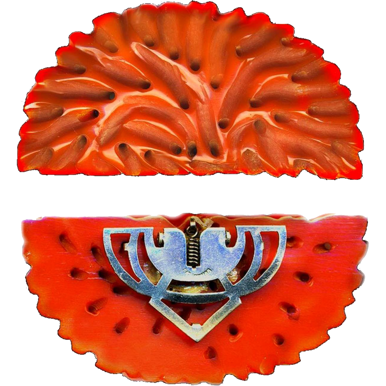 Dress Clip--Very Large Realistic Red Orange Bakelite Imitative of the Best Neopolitan Coral