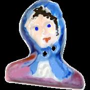 Button--Large Vintage Sculpted Porcelain Lady in Blue Scarf Sew-thru