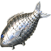 """Georgian Articulated Sterling Silver Fish Clove and Snuff """"Box""""--Sapphire Eyes 2 Compartments"""