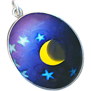 Pendant--Vintage 1970s Lundberg Art Glass Moon and Stars in Sterling Silver