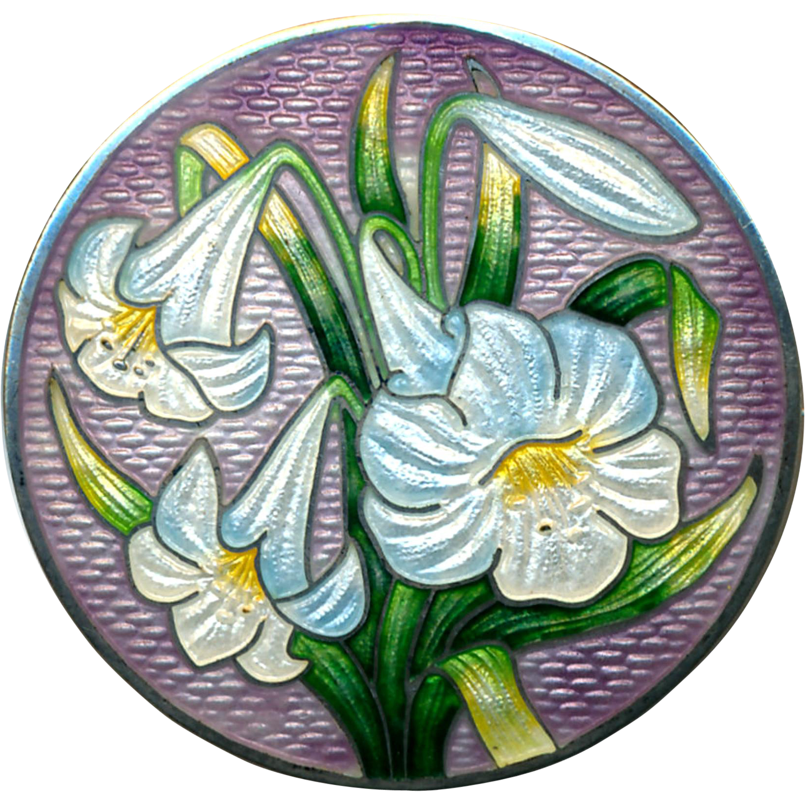 Brooch--Large Vintage Sterling Silver Enamel Blue-white Easter Lilies on Lavender Ground