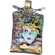 Pendant--Artist Susan Gifford Knopp Fine Cloisonne Enamel on Sterling Silver--Spiritual Excavation