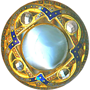 Button--Large Late 19th C. Chatoyant Pale Gray Glass in Enameled Openwork Brass