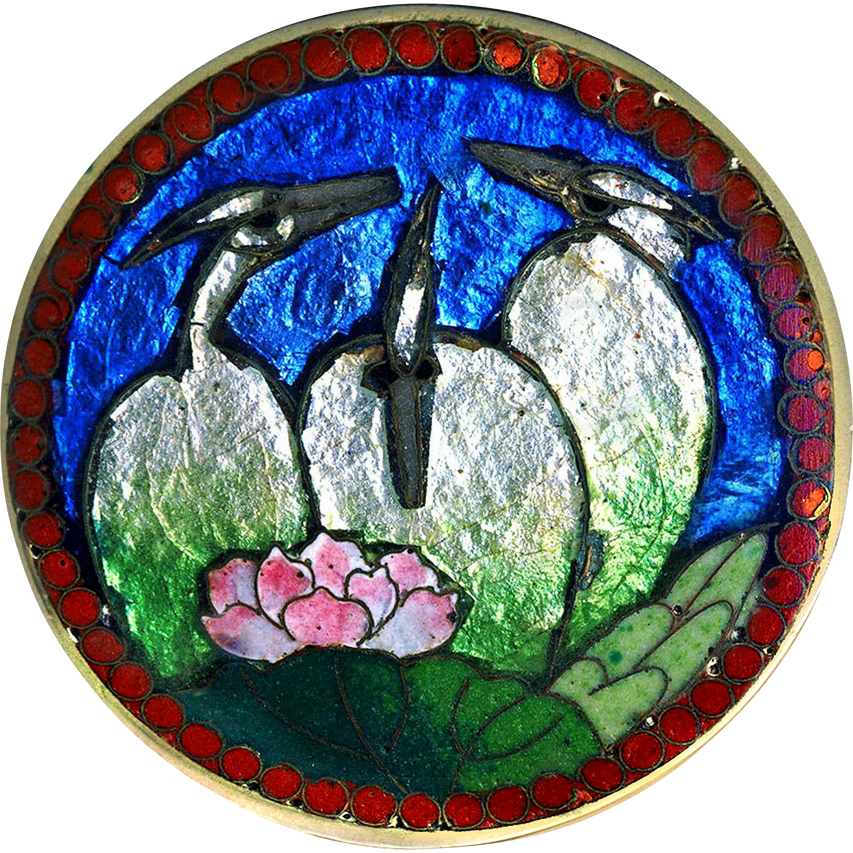 Brooch--Whimsical Late 19th C. Fine SilverJapanese Foil (Gin Bari) Cloisonne Enamel Egrets and Water Lily