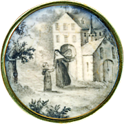 Button--Large Early 19th C. Monochrome Painting Under Glass Small Friar and Nuns at Convent