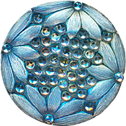 Button--Large Late 19th or Early 20th C. Silvery Blue Lacy Glass Daisy Border and Silver Luster