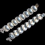 Bracelet--Vintage 1950s Scandinavian (Sweden) Large Sterling Silver Engraved Leaves