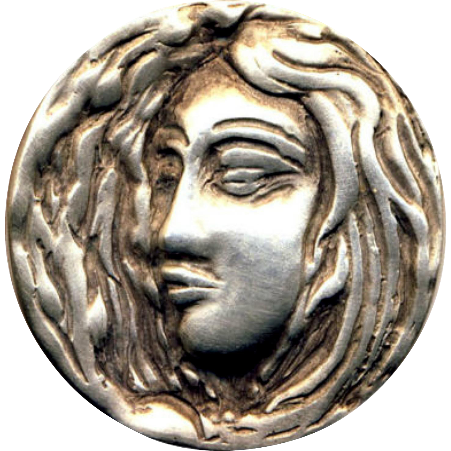 Button Vintage Hand Sculpted Heavy Sterling Silver Art
