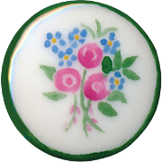 Button--Late 19th C. or Early 20th Hand Painted Porcelain Sentimental Flowers