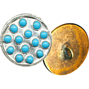 Button--Unusual 19th C. Silver-topped Brass Embellished Overall with Turquoise Enamel Pierreries