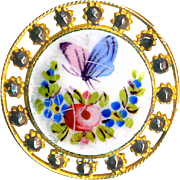 Button--Late 19th C. Enamel Butterfly, Roses, and Forget-me-nots in Cut Steels
