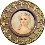 Button--Early 20th C Sweet Lithograph Lady Under Celluloid in Brass