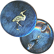 Button--Late 19th C. Shimmery Blue Horn with Silver Crane or Heron Inlay