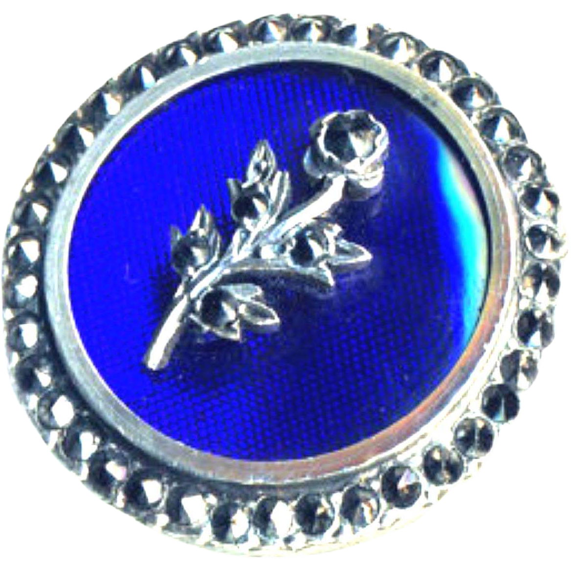 Button ~ Rare Very Fine Late Georgian Bleu de Roi Glass in Silver with True Marcasite Embellishment and Border