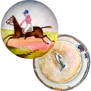 Button--Small Mid-19th C. Hand Painted Enamel Equestrian--Silver Back