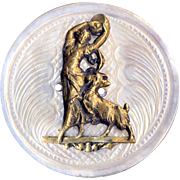 Button ~ Hard to Find 19th C. -Very Large Brass Esmeralda and Dancing Goat on Carved White Pearl