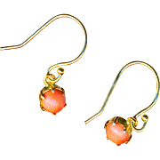 Earrings--Tiny Natural Coral Set in 14 Karat Gold Earwires