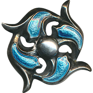 Brooch--Early 20th C. Turquoise Blue Enamel on Sterling Silver Organic Quatrefoil Design