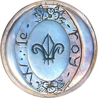 Button--Large Late Georgian Engraved Carved Pearl Fleur de Lys King