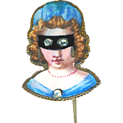 Stickpin--Enamel Masquerade or Mardi Gras Lady--Late 19th or Early 20th C. in Silver with Diamonds
