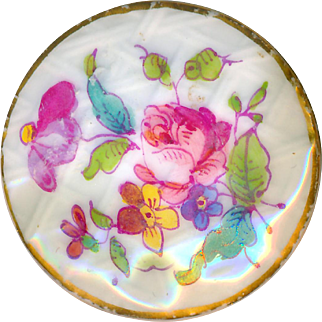 Button--Large Late 18th or Early 19th C. Hand Painted Porcelain Florals on Lattice Ground