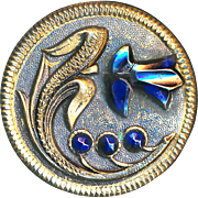 Button-Mid-19th C. Large 1-piece Brass with Big Blue Steel Flower & 3 Buds
