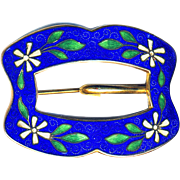 Brooch--Large Early 20th C. Champleve Enamel White Flowers on Blue Ground