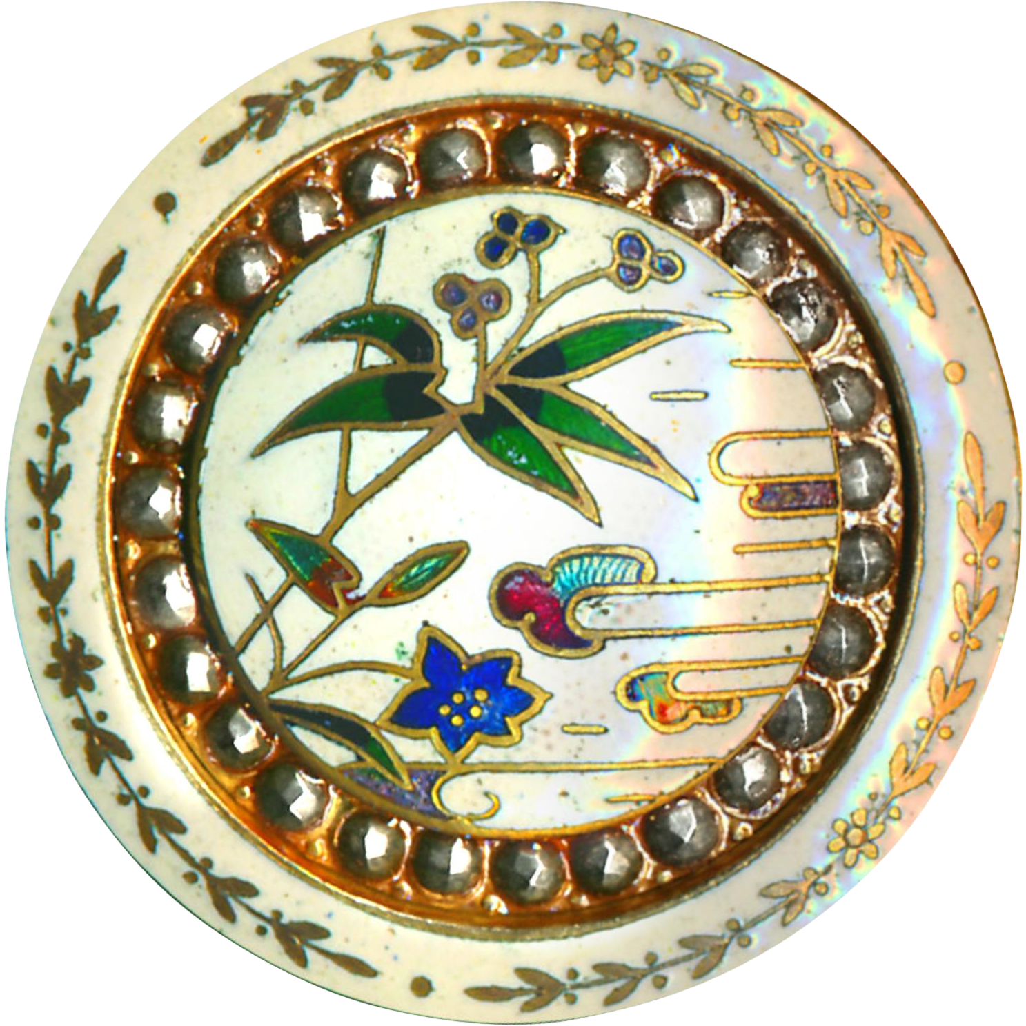 Button--Very Fine Late 19th C. Japoniste Bamboo Flower Champleve Enamel with Leaf Border & Cut Steel Inner Border