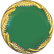Button--Medium Late 19th C. Solid Green High Gloss Enamel in Uncommon Richly Gilded Wheat Sheaf Border