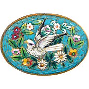 Brooch--Fine Late 19th C. Oval Micro Mosaic Glass White Dove on Turquoise with Flowers in Brass