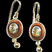 Earrings--Very Fine Mid-19th C. Micromosaic Water Garden Scenes in Aventurine Glass and 14 Karat Gold