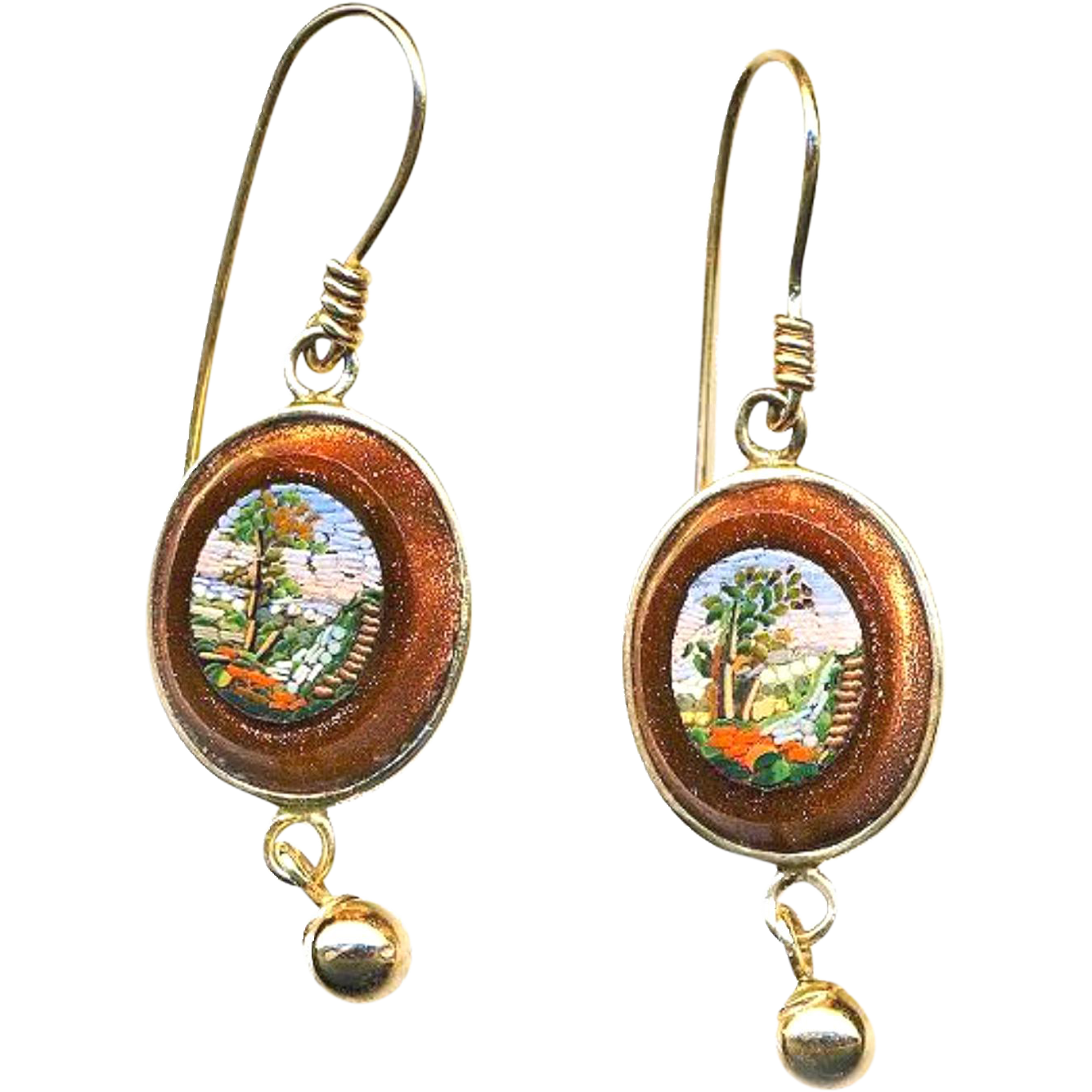 Earrings--Very Fine Mid-19th C. Micromosaic Water Garden Scenes in Aventurine Glass and 14 Karat Gold