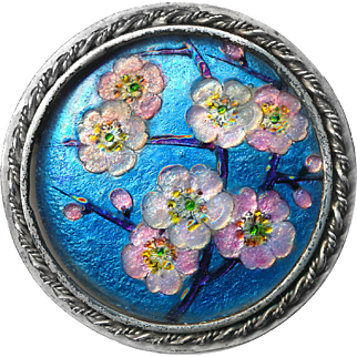 Brooch--Large Vintage French Limoges Enamel Encrusted Plumeria Blossoms
