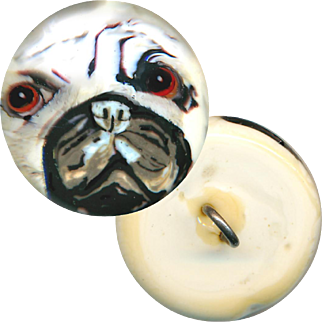 Button--Modern Hand Crafted Glass Paperweight Peeking Pug--Medium