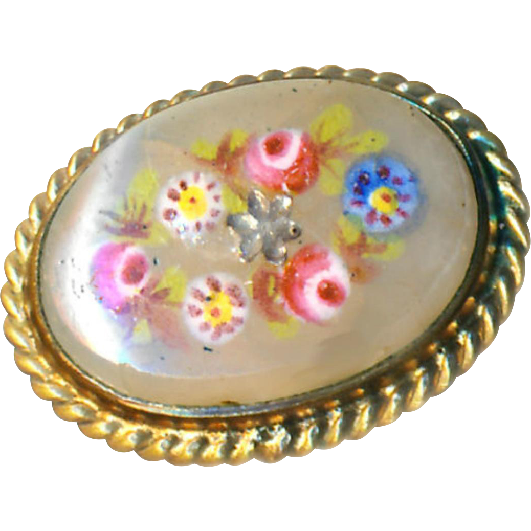 Button--Very Fine 19th C. Waistcoat Enameled Flowers on Translucent Glass with Foil Inclusion