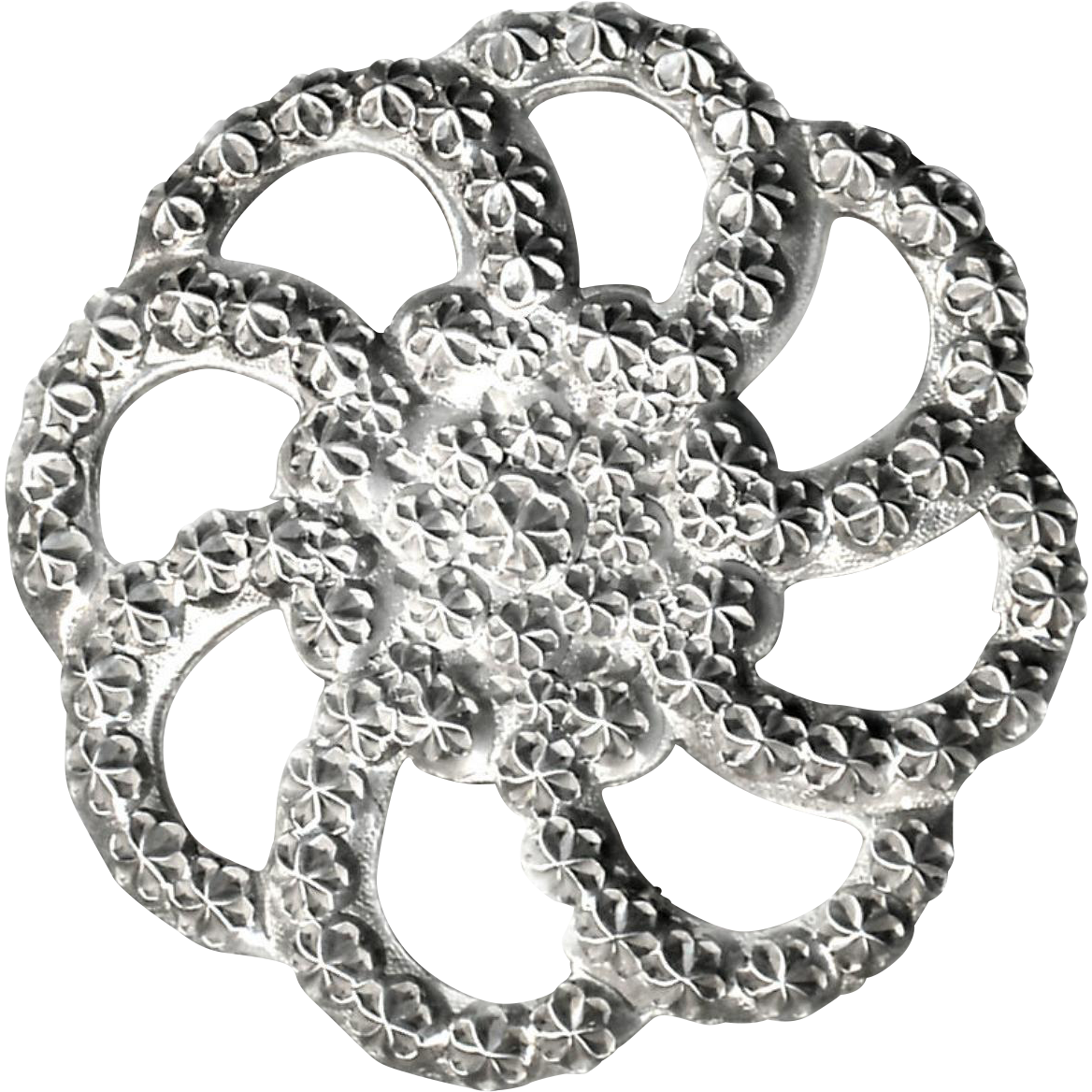 Button--Large Late 19th C. Charles Horner Punched Openwork Sterling Silver Rosette