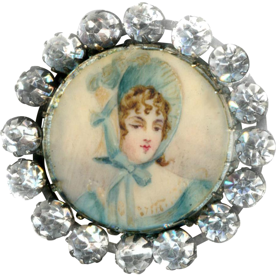 Button--Fine Medium Late 19th C. Portrait Under Glass of Regency Era Lady in Blue Bonnet