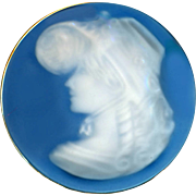 Button--Very Large Early 20th C. Pate-sur-pate Porcelain Lady in Bonnet in Brass