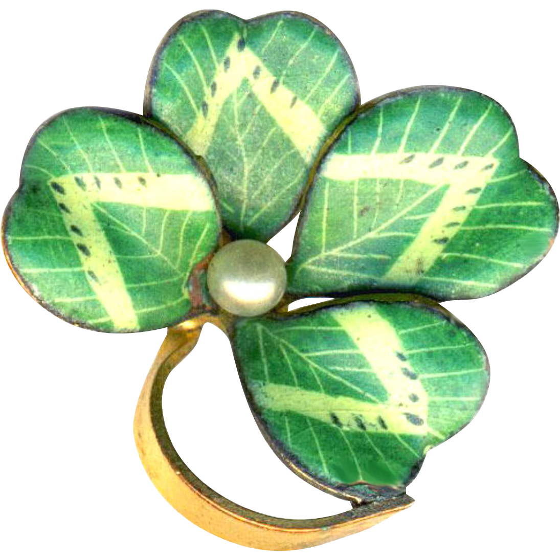 Pin--Early 20th C. Fine Hand-painted Fired Enamel Lucky Shamrock on Gold-plated Brass & Natural Pearl