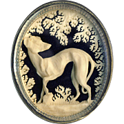 Brooch--Exquisitely Ajoure Carved Large Mid-Victorian Dieppe Greyhound or Whippet Under Glass in Sterling Silver
