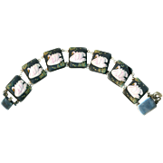 Bracelet--Vintage Pre-WWII Toshikane Arita Porcelain Pink Swans in Sterling Silver