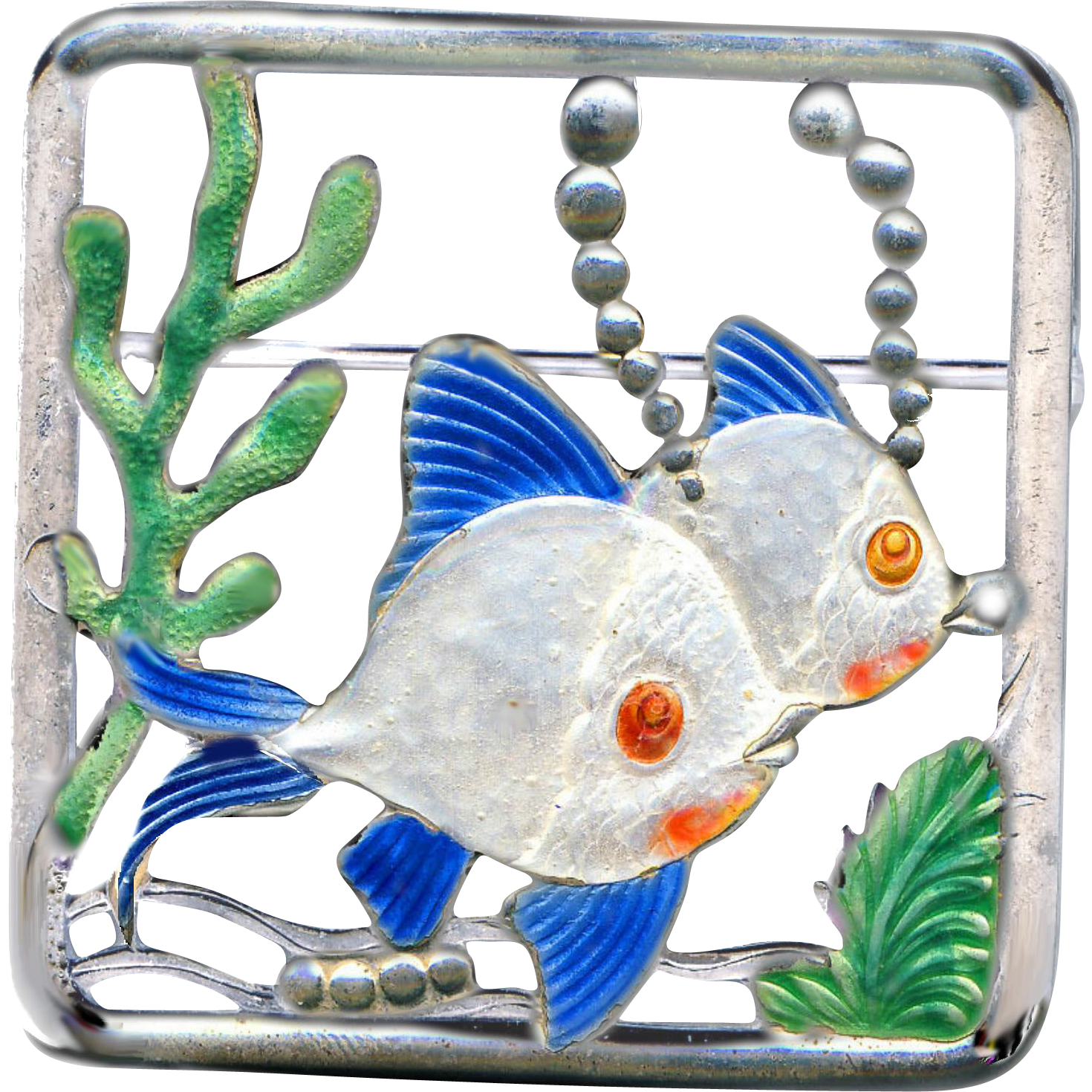 Brooch--Fun Stuff--Early 20th C. Large Enamel on Silver Undersea Fishes & Bubbles by Truart