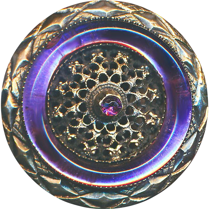 Button--Large Unusual Striking Early 20th C. Open Filigree Brass with Glass Ring Jewel