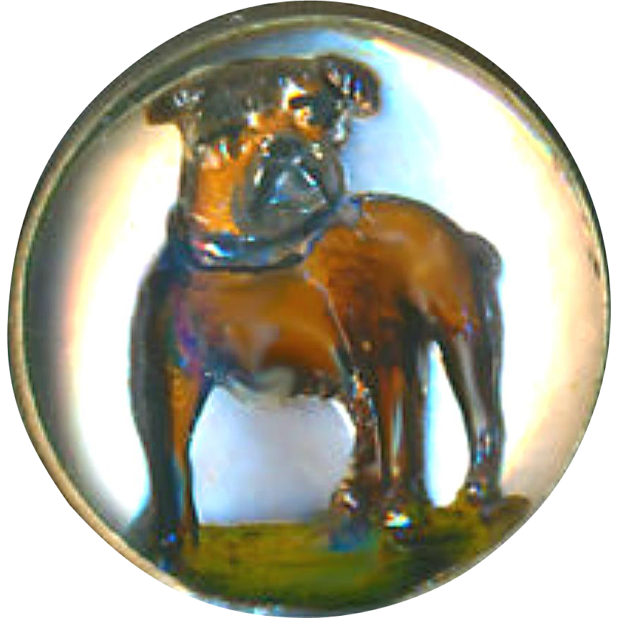 Button--SOLD--Fine Small Circa 1910 Reverse Glass Intaglio English Bulldog in 0.800 Silver